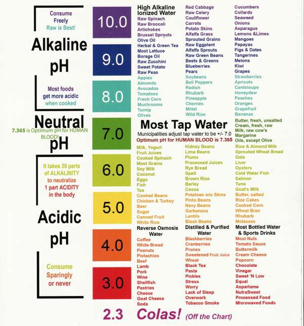 ph of foods chart